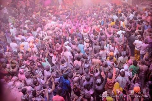 Devotees crowding the temple floor