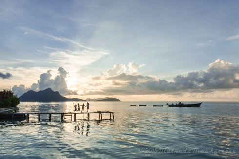 Children doing their routine jump at the jetty during my sunrise moment