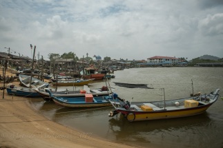 Fishing boats lining along the beach