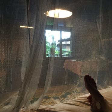 sleeping inside a mosquito net